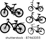 set from silhouettes of bicycles | Shutterstock .eps vector #87463355
