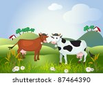 Two cows on meadow fields - stock vector
