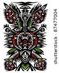 black pattern of flowers ... | Shutterstock .eps vector #87477004