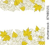 Yellow Autumn Leaves Silhouettes Background For Seasonal Or Thanksgiving Design. Vector version also available in gallery - stock photo