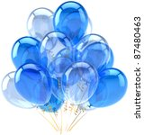 Party balloons blue cyan translucent. Happy birthday holiday anniversary retirement celebration decoration. Fun joy positive emotion abstract. Detailed 3d render. Isolated on white background - stock photo