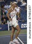NEW YORK - SEPTEMBER 01: Caroline Wozniacki of Denmark reacts during 2nd round match against Arantxa Rus of the Netherlands at USTA Billie Jean King National Tennis Center on September 01, 2011 in NYC - stock photo