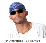 Posing African American man - stock photo