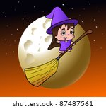 cute little witch on her broom... | Shutterstock .eps vector #87487561