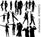 dance silhouettes | Shutterstock . vector #87490372