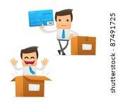 set of funny cartoon office... | Shutterstock .eps vector #87491725