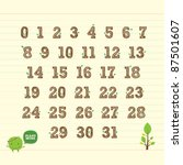 handwritten number 123 with leaf | Shutterstock .eps vector #87501607
