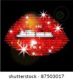 sequin red lips vector