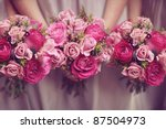 Trio Of Pink Bridesmaid Posies