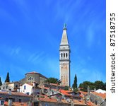 campanile of St. Euphemia's Basilica at historic center of Rovinj, Croatia - stock photo