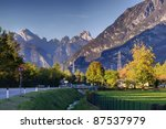 autumn road in the Alps, north Italy - stock photo