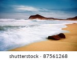 Beach and sea-Spain-Almeria-Cabo de Gata - stock photo