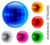 Raster version. Collection of colorful glossy spheres isolated on white. Abstract World globe. - stock photo