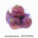 Four Large Onions In A Purple...