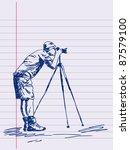 hand drawn photographer vector. ...
