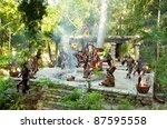 """XCARET, MEXICO - JULY 19: Pre-Hispanic Mayan performance called """"Dance of the Owl"""" in the jungle at ancient Mayan Village on July 19, 2011 in Xcaret, Riviera Maya, Mexico - stock photo"""