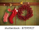 Christmas Stockings And Wreath...