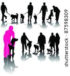 Stock vector illustration of people with dog and shadow vector 87598309