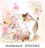 Stock vector  retro birthday greeting card with little tabby kitten flowers and butterfly watercolor style 87615262