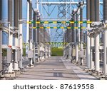 Ultra modern high voltage transformation power station for electrical Industry with several transformers - stock photo
