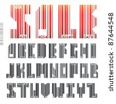 font barcode   letters from a... | Shutterstock .eps vector #87644548