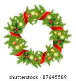 christmas wreath with red bow... | Shutterstock .eps vector #87645589
