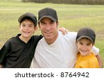 dad and boys in their baseball... | Shutterstock . vector #8764942