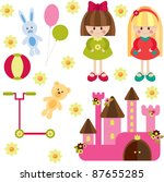 toys for girl  isolated | Shutterstock .eps vector #87655285