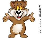 happy brown bear   cartoon... | Shutterstock . vector #87670471