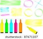 highlighter pens and doodles... | Shutterstock .eps vector #87671107