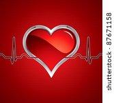 heart button on silver medical... | Shutterstock . vector #87671158