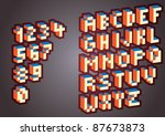 eps10 3d pixel alphabet and... | Shutterstock .eps vector #87673873