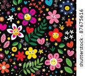 cartoon flowers and hearts pattern - stock vector