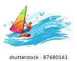 windsurfer on the wave | Shutterstock .eps vector #87680161