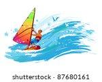windsurfer on the wave | Shutterstock .eps vector #87680161
