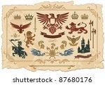 heraldic set of lions  eagles ...