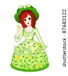 Cute retro doll in floral dress with butterfly - stock vector