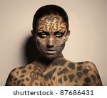 sexy leopard woman - stock photo