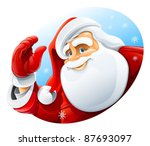 happy santa claus face greeting ... | Shutterstock .eps vector #87693097