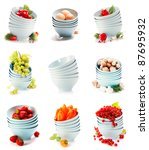 image set of blue bowls with... | Shutterstock . vector #87695932