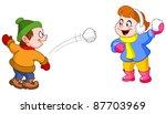 kids throwing snowballs at each ...   Shutterstock .eps vector #87703969