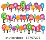 abstract trees border decoration | Shutterstock .eps vector #87707278