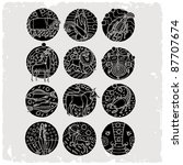 horoscope black and white | Shutterstock .eps vector #87707674