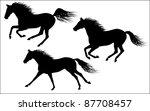 vector galloping horses | Shutterstock .eps vector #87708457