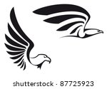 Black eagles isolated on white background for mascot or emblem design, such  a logo. Rasterized version also available in gallery - stock vector