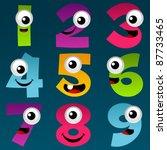 cartoon numbers set 4 | Shutterstock .eps vector #87733465