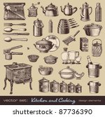 vector set  kitchen and cooking ... | Shutterstock .eps vector #87736390