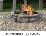 outdoor fireplace with burning... | Shutterstock . vector #87765757