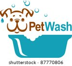 Stock vector pet wash icon logo design 87770806