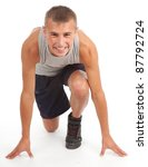 running young man in sport... | Shutterstock . vector #87792724